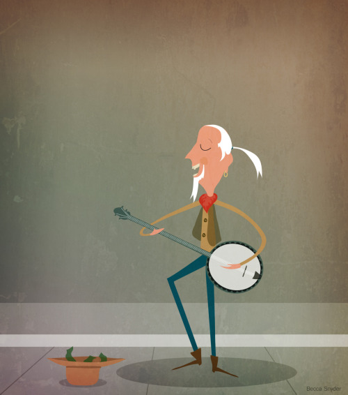 rockin' out on the banjo.