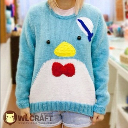 My customer knitted this cute penguin pullover #knitting #pullover #handmade  (Taken with Instagram at owlcraftshop.com)
