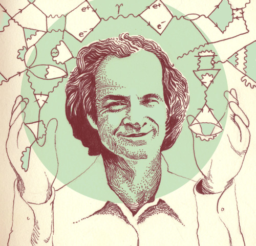 kcool1:  hwilsonart:  Quick portrait of Richard Feynman, the Quantum man, and his feynman diagrams.