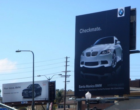 Check out this awesome ad campaign BMW of Santa Monica ran a few years ago to compete with billboards from rival German automaker, Audi. Chess, anyone? - Patrick Simons
