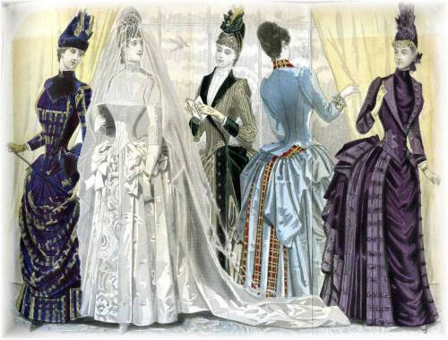 Wedding Party, color fashion plate from 1887 Peterson's Magazine, the 4th of 5 color plates from this bound edition of Peterson's.