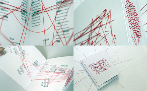 "visual-poetry:  ""typographic links"" by dan collier ""typographic links is a hand-sewn book which maps interesting links and connections throughout the world of typography. red threads are used as three-dimensional 'hyperlinks' to guide the reader through the pages. created in 2007, it was on display at the museum of modern art (MoMA) in new york in 2011 as part of the talk to me exhibition."""