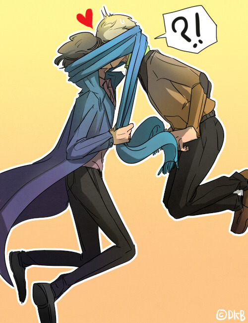 diaemyung:  Request by sherlockbeingheterosexual - The two of them sharing one scarf or something like that Sharing one scarf and kiss together