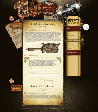 steampunk webdesign for SenyaStudios by blackmoondev on Flickr.