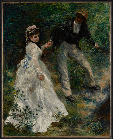 La Promenade, 1870, Pierre-August Renoir  Renoir, Impressionism, and Full-Length PaintingFebruary 7, 2012, through May 13, 2012 at The Frick Collection  The Frick Collection will present an exhibition of nine iconic Impressionist paintings by Pierre-Auguste Renoir, offering the first comprehensive study of the artist's engagement with the full-length format, which was associated with the official Paris Salon in the decade that saw the emergence of a fully fledged Impressionist aesthetic. The project was inspired by La Promenade of 1875–76, the most significant Impressionist work in the Frick's permanent collection.  Related: Renoir at the Frick (WSJ)