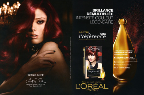 "La Rouge créé pour Coco Rocha - ""Red created for Coco Rocha"" You may have been wondering why my hair color has been changing non-stop these last few weeks. I'm very happy to finally be able to tell you that I'm working with the amazing L'Oréal team! More to come…"