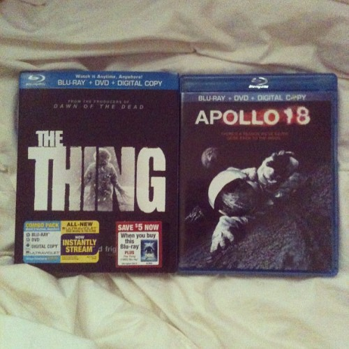 "2 down, 37615849271553809927 to go. The Thing- 4/5 I really enjoyed the pacing, the intensity, and it truly had some interesting creature designs and visual effects that gave some pretty good scares. It was everything I had hoped and more, it certainly didn't disappoint. It felt like it flowed in the same vein as the John Carpenter's 1982 film as it set the same tone of paranoia and distrust. The events that lead up to the 1982 film are perfectly explained in this one, plus, Mary Elizabeth Winstead…'nuff said. Apollo 18- 3(3.5?)/5 I'm teetering on this one. I really liked the concept and there's a lot of visuals and camera work that create an intense atmosphere, but I was a little disappointed when the ""life forms"" are revealed. There are quite a few memorable scenes and some clever play on lighting that was genuinely creepy, but the purpose of the mission and the overall story felt like an afterthought. The third act felt kind of scrambled as well.  As a sci-fi, fake documentary thriller, it does a great job. It's something to watch if you're a fan of the genre as it's certainly not for everybody."