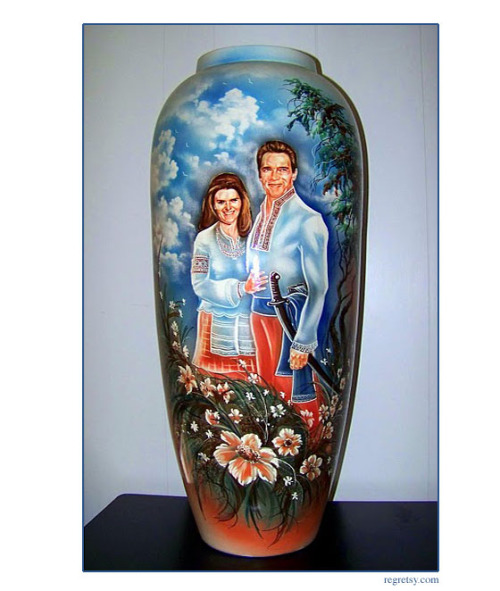 Awesome Craigslist thing of the day: Hand-painted Arnold and Maria vase Just look at them, looking like Spanish Conquistadors. Irish and Austrian Spanish conquistadors, but whatever. This would look great pretty much anywhere in your home. Via Submitted by Delsyd