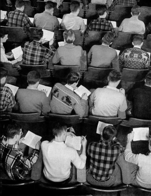 hvidt:  williams college 1949  I feel like this ranks high on the list of situations where it sucks to be left handed.