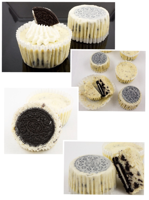 Oreo Cookies and Cream Cheesecakes  Makes 30 42 Oreo, cream-filled chocolate sandwich cookies, 30 left whole and 12 coarsely chopped 908 grams (2 pounds or about 3 2/3 packages) cream cheese, room temperature 225 grams (1 cup) sugar 1 teaspoon pure vanilla extract 4 large eggs, room temperature, lightly beaten 230 g (1 cup or 8 ounces) sour cream Pinch of salt Preheat oven to 275° F.  Line standard muffin tins with paper liners.  Place 1 whole Oreo cookie in the bottom of each lined muffin cup. In the bowl of a stand mixer, fitted with the paddle attachment, beat cream cheese on medium-high speed until smooth, scraping down sides of the bowl as needed.  Gradually add the sugar, and beat until combined.  Beat in the vanilla. Drizzle in eggs, a little at a time, beating to combine and scraping down sides of bowl as needed. Add in sour cream and salt, beat to combine.  Using a large spatula, fold in the chopped Oreo cookies. Divide batter evenly among the cookie-filled muffin cups, fill each cup almost to the top.  Bake, rotating muffin tins halfway through, until the filling is set, about 22 to 28 minutes.  Transfer the muffins tins to a wire rack to cool completely. Refrigerate (in the muffin tins) at least 4 hours (or overnight). Remove from tins just before serving.