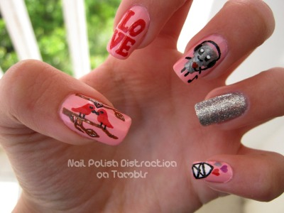 nailpolishdistraction:  My first valentine's day nail design =)