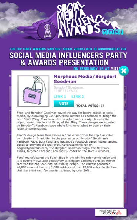 We're nominated for a Social Media Influencer Award for our Fendi Frenzy campaign with Bergdorf Goodman. Vote for us today!