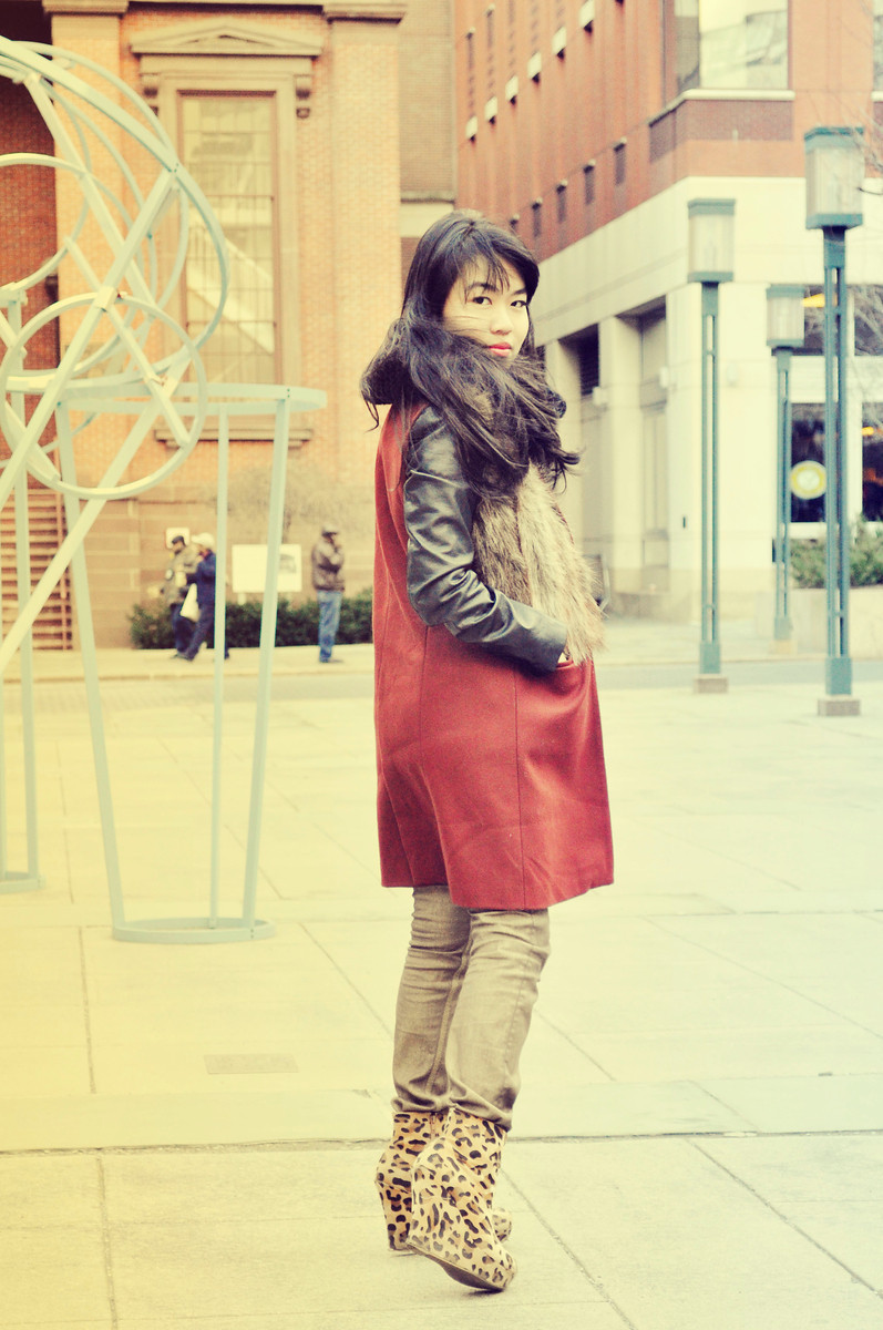 Nicole - Metrotech, Brooklyn     .Zara Fur Vest // Python Collar Necklace
