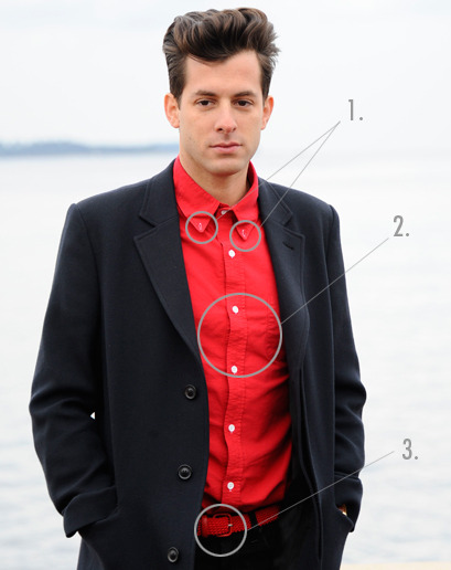 The ballsiest Ronsonian style moves: 1) Unfastened collar-buttons2) Blood red shirt 3) Red woven belt Brought to you by The Week in Style.