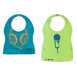 Little Bites Silicone Bibs B/G, 32% offAdd some sass to your little one's wardrobe without cramping their style. Little Bites Silicone Bibs feature an adjustable neck strap and contoured sides for comfort. The smart design and cool graphics created by NewSkool make it fun for parents, too. The green bib features a mic, and the blue bib shows off snazzy headphones. A snap-n-catch pouch traps falling food and unsnaps quickly for easy cleanup. The silicone is bacteria resistant and free of BPA, phthalates and lead, so you can have peace of mind as you watch them eat.