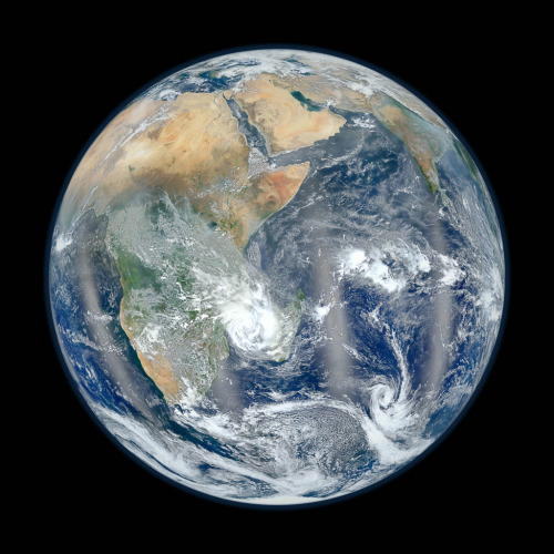 "ikenbot:  Blue Marble: The Other Side Last week, NASA released its 2012 version of the famous ""Blue Marble"" image. By using a planet-pointing satellite, Suomi NPP, the space agency created an extremely high-resolution photograph of our watery world. The photo centered on the western hemisphere, highlighting North and Central America. It went viral and got even more hits on Flickr than the iconic ""Situation Room"" photo, taken at the time of the assassination of Osama bin Laden. Now, responding to public demand, the agency has created a companion image: this time focusing its lens toward the East and showing Africa, Saudi Arabia and India."