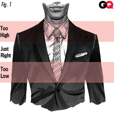 "gq:  How To Wear a Tie Bar Usually we leave the hardcore fashion posts to our tum-bro GQ Fashion, but this one was just too damn important. Because if you haven't noticed, we're big fans of the tie bar here at GQ. And while we've been thrilled to see an uptick in real guys wearing them on the street, we've gotta say, some of you just aren't doing it right. So we asked GQcreative director Jim Moore to break down exactly how it's done. The most crucial part: position. Says Jim: ""The rule is simple: It goes between the third and fourth buttons of your dress shirt."" Need more help? Click here."