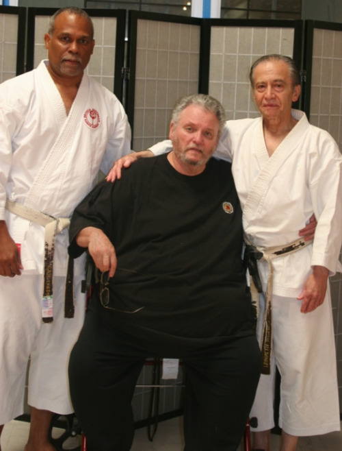 "From left to right: Kyoshi Rick Llewellyn, Hanshi Vincent Cruz, and Hanshi M.A. Sharifi. This picture was taken at the dojo on the day of a suprise visit from Hanshi Cruz, along with Kyoshi Llewellyn and a handful of his top students. Hanshi Cruz presented Sensei with the honorary rank of eighth dan, and the title of ""Hanshi"", from the ISKA. Both Hanshi Cruz and Hanshi Sharifi were longtime students of the late Master Hidetaka Nishiyama. Hanshi Cruz is sixth dan under Master Nishiyama. Hanshi Sharifi received his fourth, fifth, sixth, and seventh dans from Master Nishiyama as well. Hanshi Cruz is the founder of the International San Ten Karate Association (ISKA). Kyoshi Llewelan runs the Shotokan Karate Academy in Benicia, CA, in association with the ISKA. Shotokan Karate Institute —> www.shotokan.com International San Ten Karate Association (ISKA) —> http://mariposa.yosemite.net/ISKA/index.htm Shotokan Karate Academy —> http://www.shotokankarate.net/"