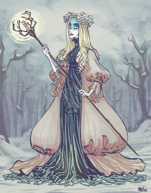 Lady Winter, second character design for my senior thesis project (to be paired with Lord Winter from last week). She really likes Alexander McQueen.