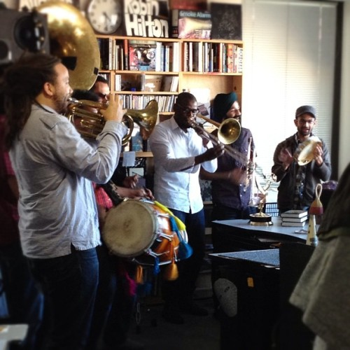 fromageetalpinisme:  Another TinyDeskConcert. Red Baraat. #nprlife (Taken with instagram)