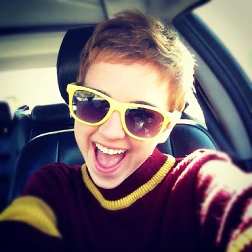 Doesn't everyone drive in their Gryffindor sweaters and yellow sunglasses? (Taken with instagram)