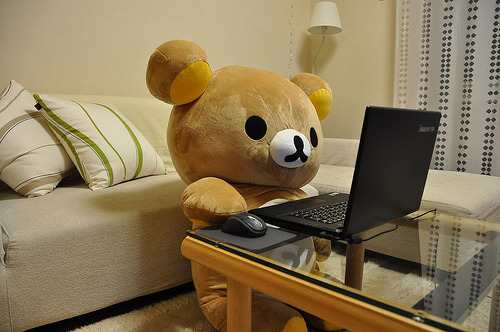 I want this Rilakkuma so much I even know where to buy one and how much it costs (100,000 won ㅠㅠ.) Must obtain significant other who indulges my childish whims immediately. This Rilakkuma would look darling with an enormous box of Valentine's chocolates waiting for me on his chubby lap.