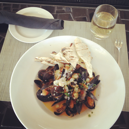 Washington state black mussels, white wine, garlic, hominy, grilled flat bread.  Maybe my new favorite?