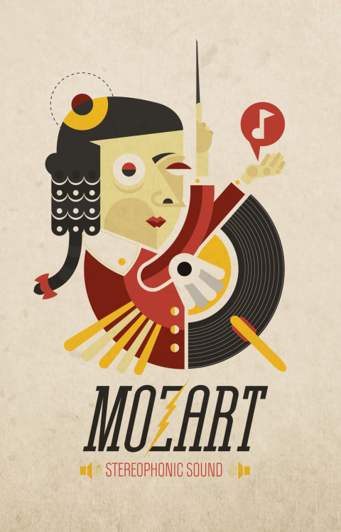 """Mozart - Stereophonic Sound"" Illustración para Threadless. Elaborada en Illustrator CS4©. Febrero 2012."
