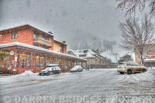 A HDR image of downtown Aspen during a snow storm.