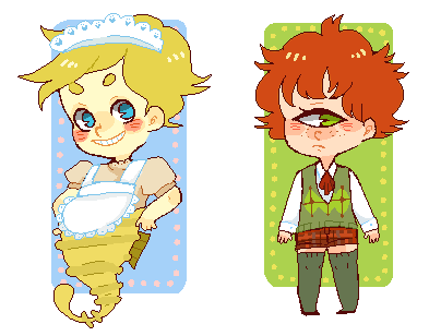tokimekiwaku:  Lecherous seahorse boy who wears a waitress outfit and wants Octagon Materialistic cyclops boy who wears knee high socks and wants Lute