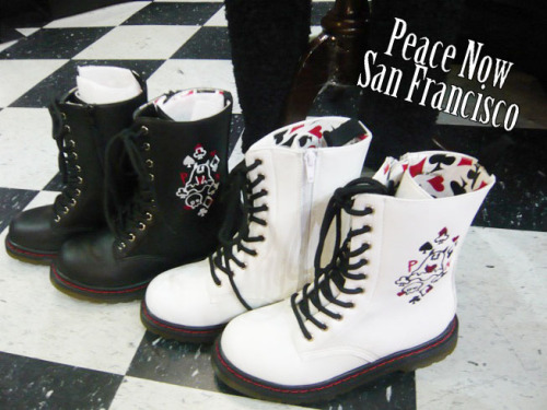 Peace Now Evy-Chan Trump Boots These boots come in black and white with an Evy-chan embroidered on the side. The inside is lined with a cool trump print (o^w^o)!!♥ These can be special ordered from Japan in size S (US 5.5), M (US 6.5), & L (US 7.5). We have both white and black in Size M available in the store.