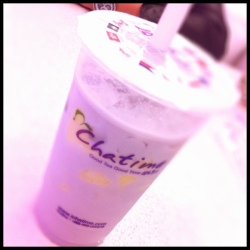 Taro Pudding Milk Tea at Cha Time (P85/95)  + pudding tastes ok and adds a nice texture to the drink - doesn't come with pearls, need to add additional, but i think its better with pearls - taro is too grainy and artificial-tasting for me - taro in quickly tastes better
