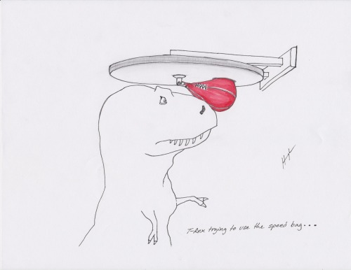 trextrying:  T-Rex Trying To Use A Speed Bag… #TRexTrying  Current obsession…