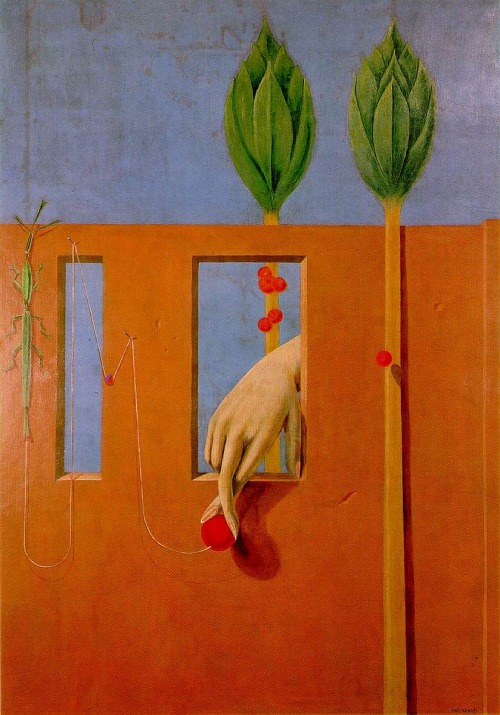 ymutate:  Max Ernst, At The First Clear Word 1923 Oil On Plaster On Canvas Kunstsammlung Nordrhein-westfalen, Dusseldorf Mural From Paul Eluard's House In Eaubonne, Later Transferred To Canvas, found here