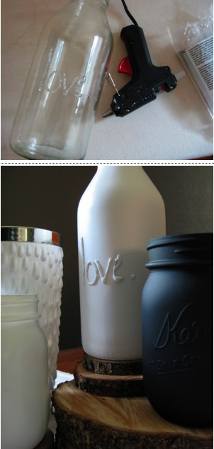 jadeorchid:  DIY Home Decor: Super simple! Glue gun words or patterns onto mason jars, then when dry spraypaint the color of your choice.