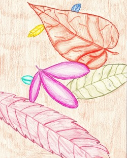 Colored pencil leaves.