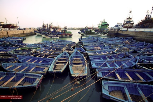 Distinctive fishing boats at the port