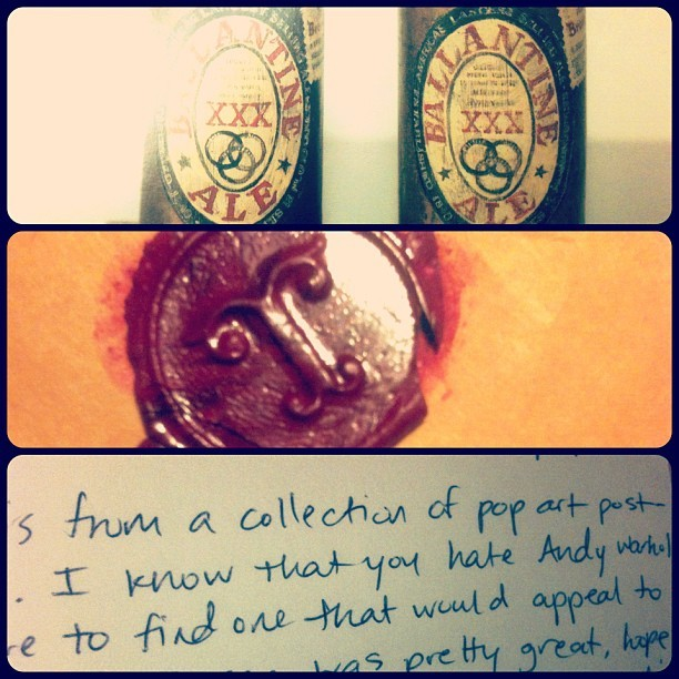 the wax seal of the package and postcard from Thea that came along with the previously posted film readings.