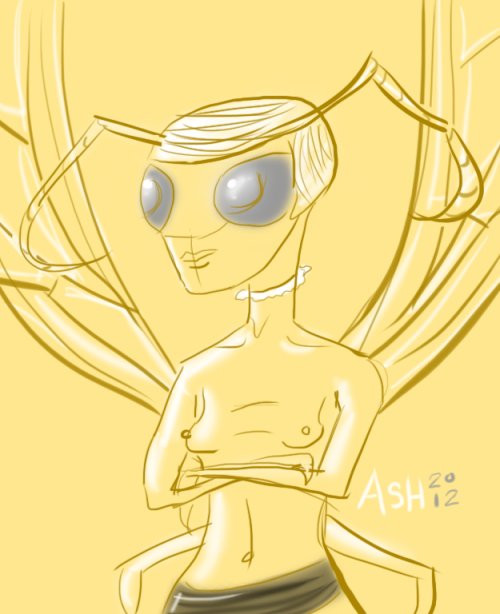 Quick sketch I did of some Hornet girl.  I used this monster generator that said something about a hornet girl that wears nothing and I went with that.  Seemed like a good idea at the time. http://www.generatorland.com/usergenerator.aspx?id=2339