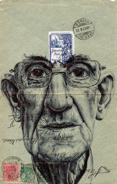 bic biro on 1903 german envelope by mark powell1 on Flickr.Oil on linen 21x18 cm. Milano, Italy. 2008