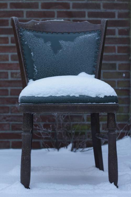 old chair, fresh snow