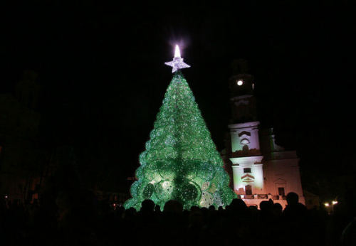 Christmas Tree made out of Sprite Bottles On this Sunday (04 12 11) in Kaunas, Lithuania was presented different Christmas city tree, which is made of 40 thousands 'SPRITE' plastic bottles. The author of idea, Jolanta Smidtienė, saying that she wanted to show how it is important to be different each year, show to everyone that each of us can make something beautiful from useless things. The most important thing is to save trees and nature.  Click through for more pics,