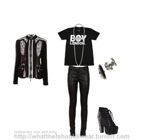 wtf-shouldiwear:  TOP: Boy London NECKLACE: TopshopPANTS: The RowJACKET: Tricot RINGS: Low LuvSHOES: Jeffrey Campbell