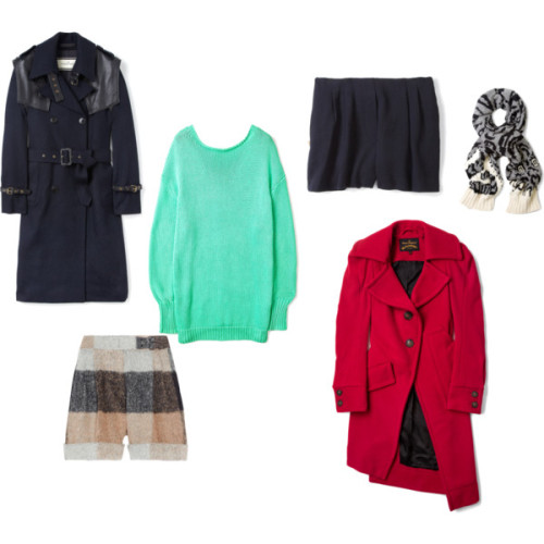 Clockwise, from left:By Malene Birger double breasted coat, Acne oversized tunic, 3.1 Phillip Lim shorts,  Joseph long scarve, Vivienne Westwood Anglomania red coat,  3.1 Phillip Lim checkered shorts
