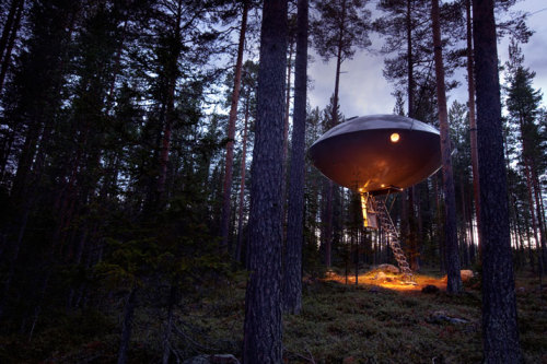 Located in Harads, a village in the northern part of Sweden, with only 600 inhabitants, the hotel has made the forested region a tourist attraction. Designed by some of Scandinavia's leading architects such as Martin Videgård and Bolle Tham as well as Mårten & Gustav Cyrén, the hotel promises to reconnect its guests with nature. The hotel, which first opened in July 2010, consists of five tree-rooms and the owners Britta and Kent Lindvall, expect to build a total of 24 tree-rooms by 2012.  All of the rooms harmoniously blend into the natural environment with the aim of making a minimal ecological footprint. Each room is located four to six meters above the ground and they all share the magnificent views of the surrounding natural environment. The rooms themselves vary in size from 15-30m2. Photographs by Peter Lundstrom, WDO | TreeHotel