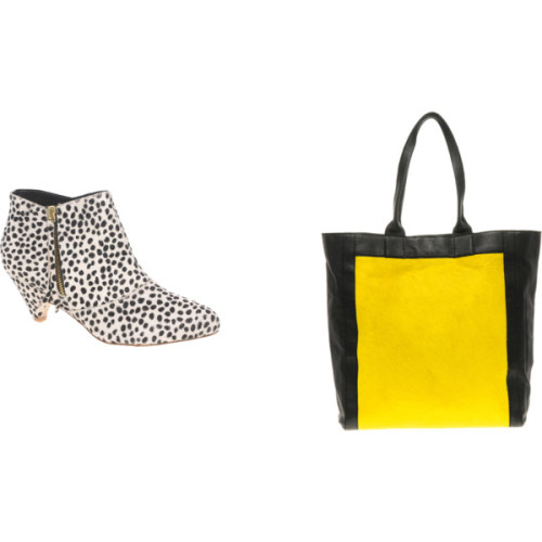 Statement Accessories- Animal Skin   SUNSHINE yellow is undoubtedly one of the colours of the new season, if you're not brave enough to don the colour top to toe this statement leather and pony skin shopper from ASOS (37.50 in the sale) is a great stand out piece and definitely on my wish list! I love a good animal print  (always faux, of course) and once again luxe animal prints were all over the catwalk. Although this season designers favoured snake like  prints I adore these fun Dalmation print ankle boots from River Island and are are great accent to liven up a plain outfit. But remember only one animal piece at a time please girls, no one wants to look like snooki! River Island low bootsAsos Premium Colored Pony Shopper