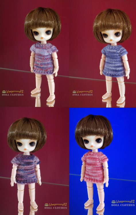 11 cm Obitsu Drta doll in 4 different hand knitted tunics made of unique hand dyed yarn