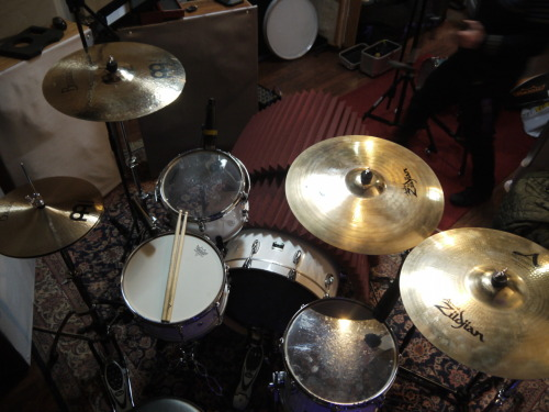 Day 1 in the studio.  Laying down the drums.  Here's a birds-eye view of James' kit.  Enjoy!
