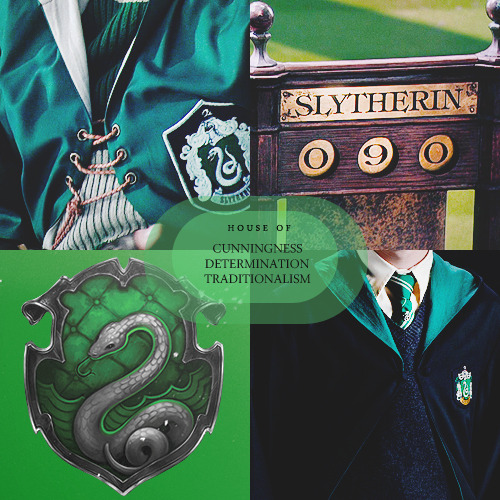 thefirsthorcrux:  House of: Cunningness, Determination and TraditionalismSlytherin corresponds roughly with the element of water. Possible Zodiac Sign/s: Scorpio (Sagittarius and Capricorn)