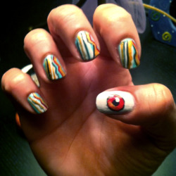 Fantastic Fest 2011 nail art: I give my friend Nicole a manicure each year before she goes to this film festival. Each year it is based on the poster for the festival (which you can view here )